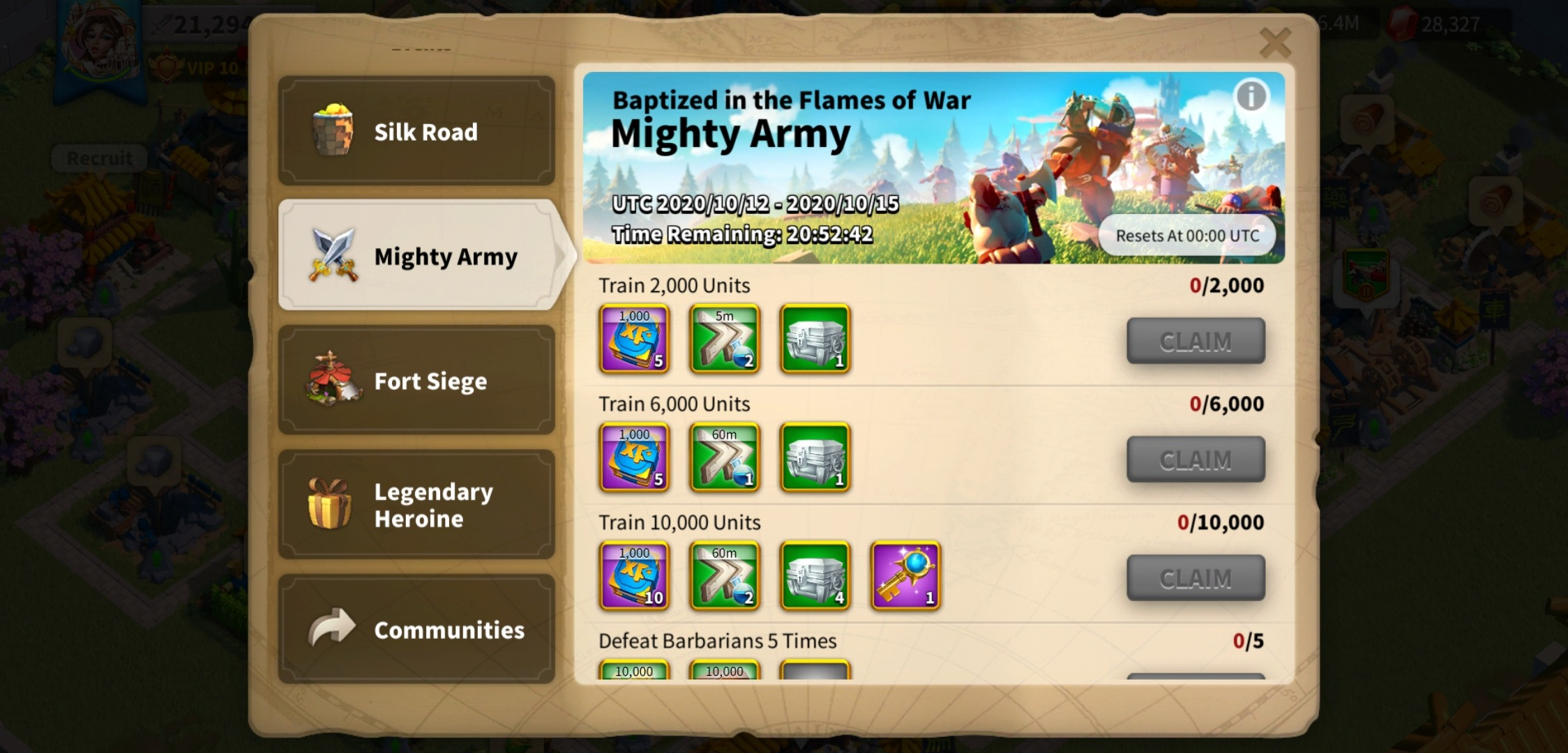 Rise of Kingdoms Mighty Army Event
